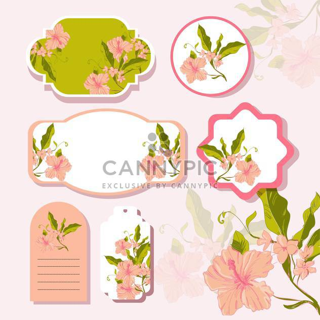 Vector floral background with cute frames with flowers - Free vector #132152