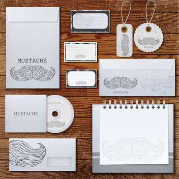 Selected corporate templates with mustaches on wooden background ,vector Illustration - Free vector #132162