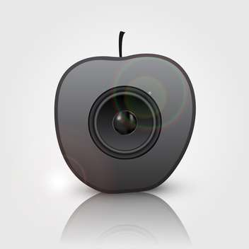 Black speaker in apple, vector illustration - vector gratuit(e) #132222