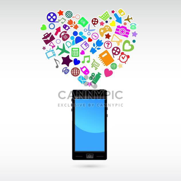Love mobile phone application, vector Illustration - Free vector #132232