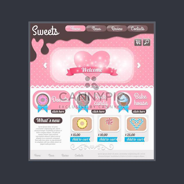 Website template for candy shop,vector illustration - Free vector #132262