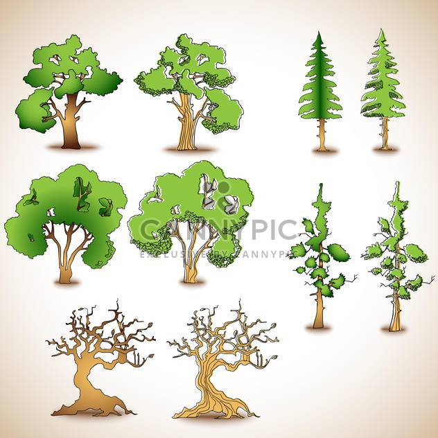 set of green and dry trees,vector illustration - Free vector #132282