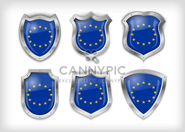 Different icons with European Union flags,vector illustration - Free vector #132372