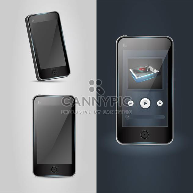 Mobile phone icons - gray and black sides ,vector illustration - Free vector #132392