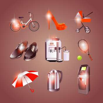 Different objects icons on brown background - Free vector #132442