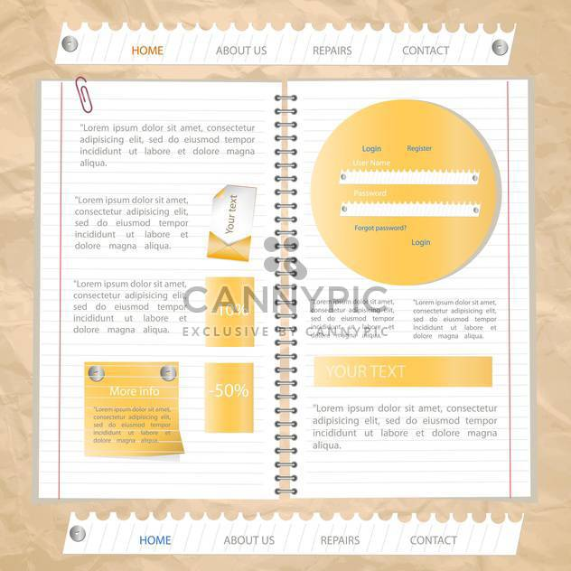 Vorlage für Website-Design, Vektor-illustration - Kostenloses vector #132452