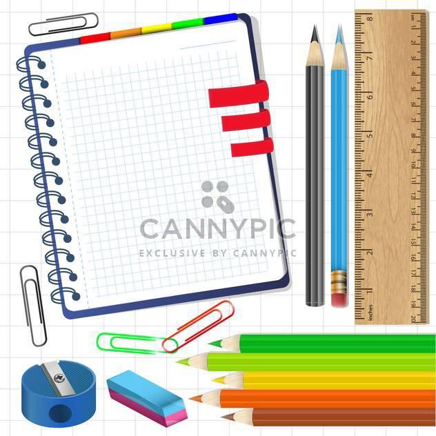 Schulmaterialien und Schreibwaren liefert Abbildung - Kostenloses vector #132592