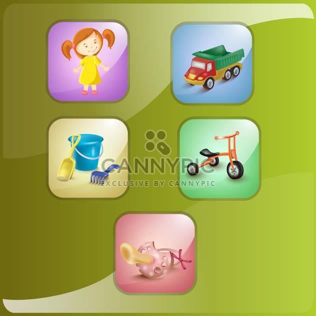 Mädchen und Spielzeug Icons Vektor-illustration - Kostenloses vector #132662
