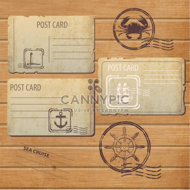 antique design postcards and postage stamps - Free vector #132762