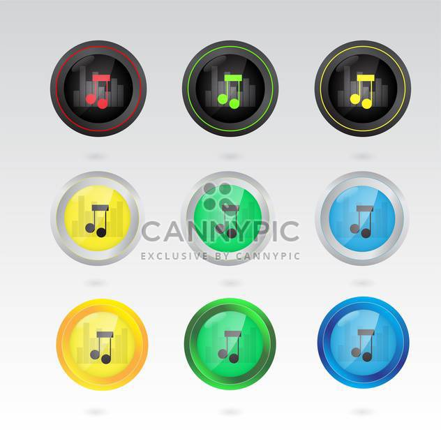 music note buttons set - Free vector #132922