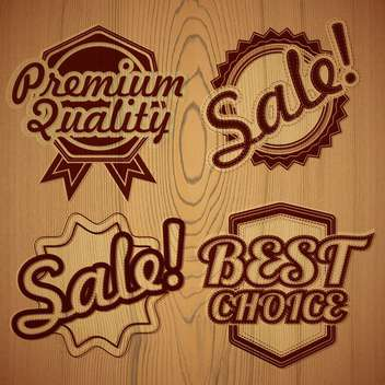 wooden premium quality labels - vector gratuit #132942