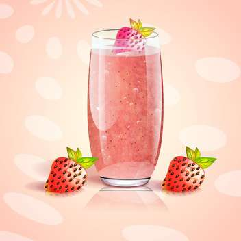 cup of fresh strawberry juice - vector gratuit #133062