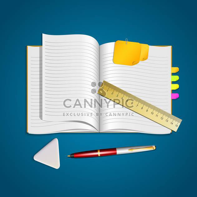 open notebook with pen, eraser and ruler - Free vector #133202