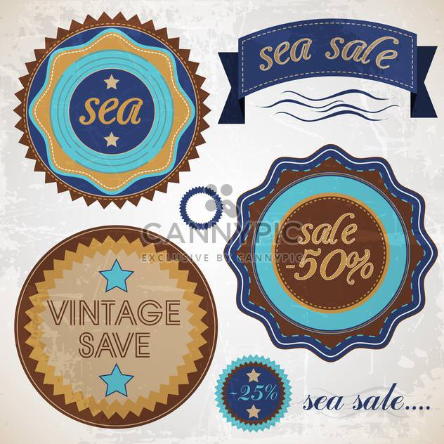 set of sea badges and emblems - Free vector #133312