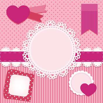 vector set of pink frames with hearts - Free vector #133442