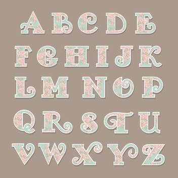 colorful floral font alphabet letters - vector #133642 gratis