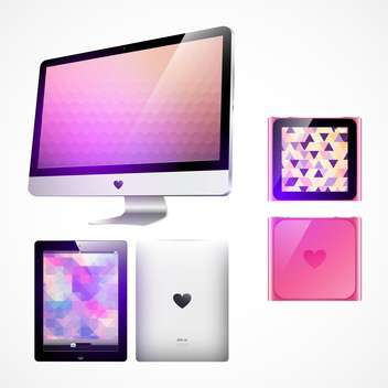 computer monitor, mp3 player and tablet pc - Free vector #133752