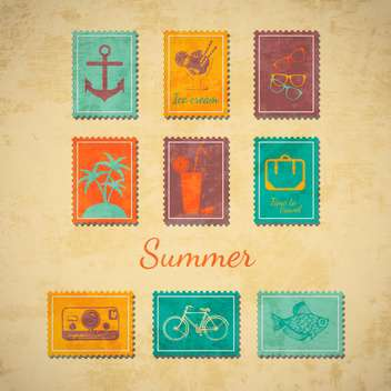 vector summer stamps set - vector gratuit #133992