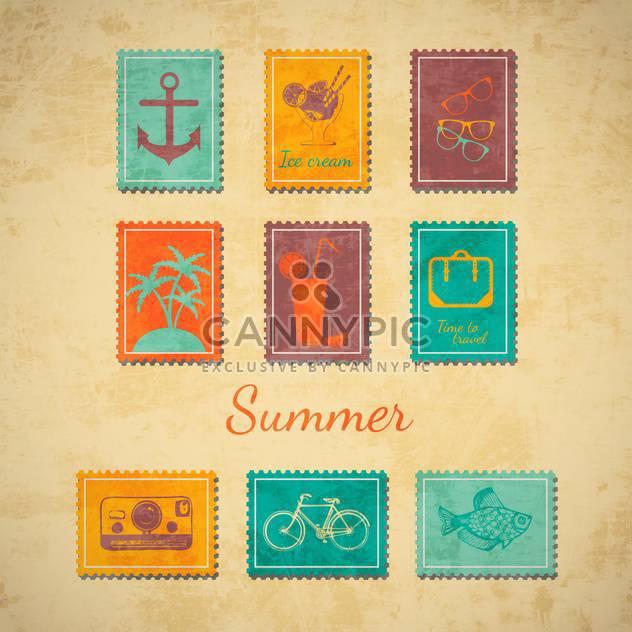 Vektor-Sommer Briefmarken Satz - Kostenloses vector #133992
