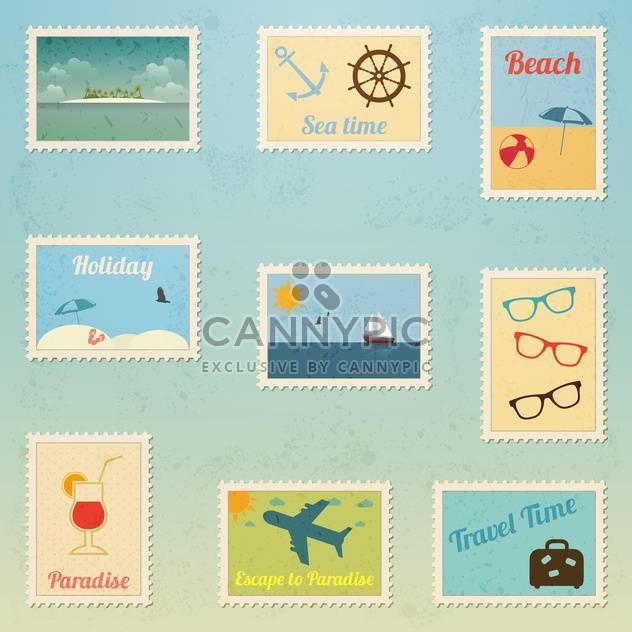 Satz von Reise-Briefmarke - Free vector #134052