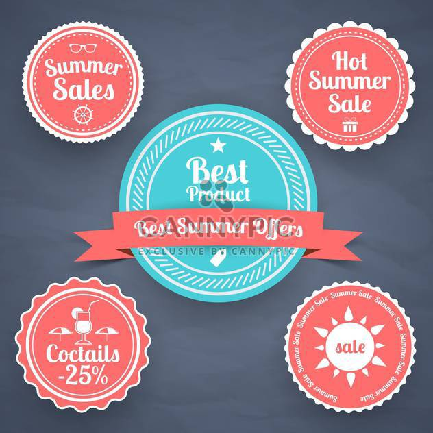 Sommer-Verkauf-Gestaltung-Embleme set - Kostenloses vector #134132