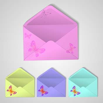 postal envelopes with summer butterflies - Kostenloses vector #134332