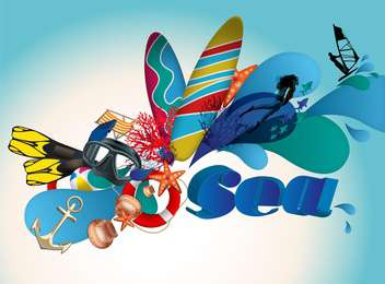 sea travel holidays items background - vector gratuit #134542
