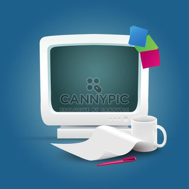 Computer mit Kaffeetasse und Dokumente - Kostenloses vector #134992
