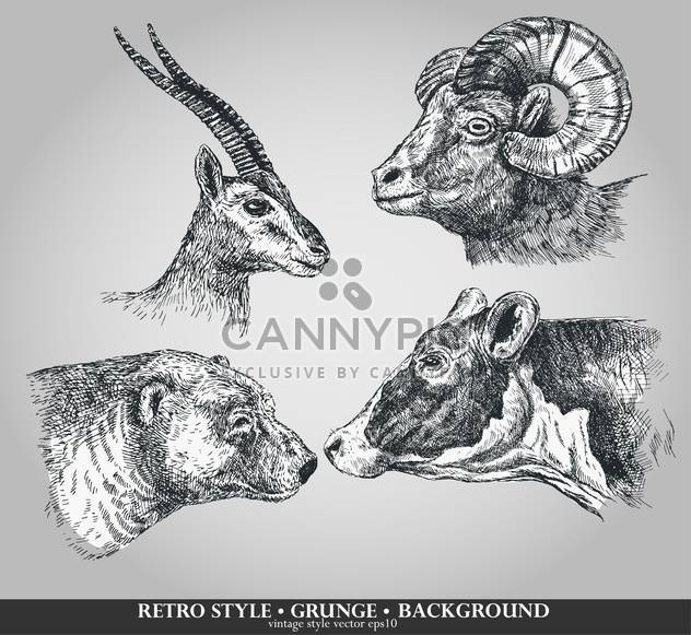 set of animals cow, sheep, goat and bear - Free vector #135102