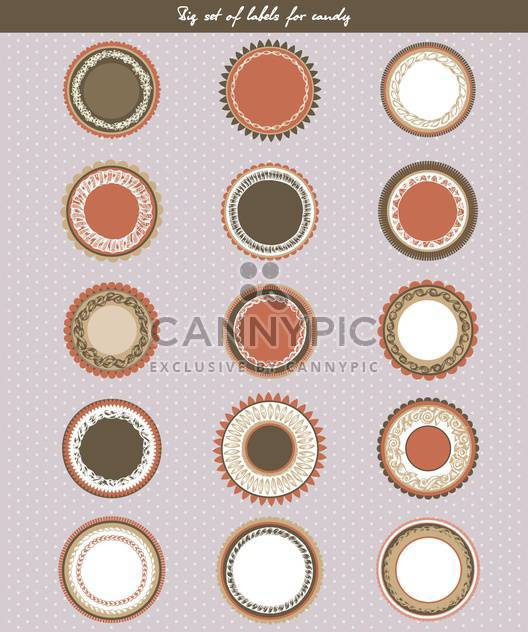 retro style set of labels for candy - Free vector #135112