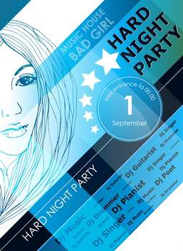 night party design poster with fashion girl - vector gratuit #135192