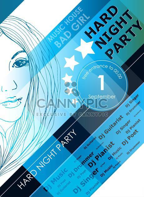 night party design poster with fashion girl - Free vector #135192