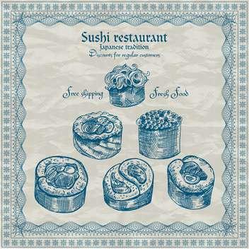 vintage sushi restaurant banner vector illustration - Kostenloses vector #135202