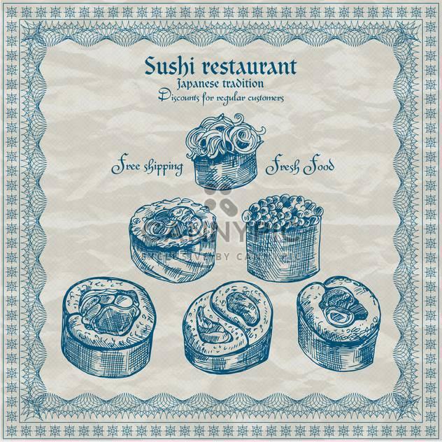 vintage sushi restaurant banner vector illustration - Free vector #135202