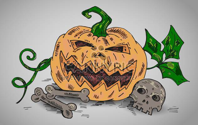 halloween holiday illustration with pumpkin and bones - Free vector #135262