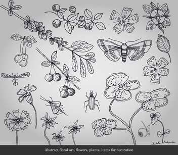Abstract flowers, plants, insects items for decoration - vector #135292 gratis