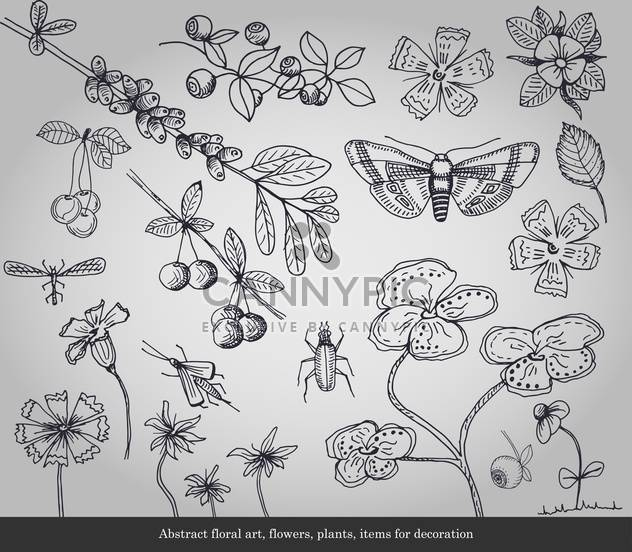 Abstract flowers, plants, insects items for decoration - Free vector #135292