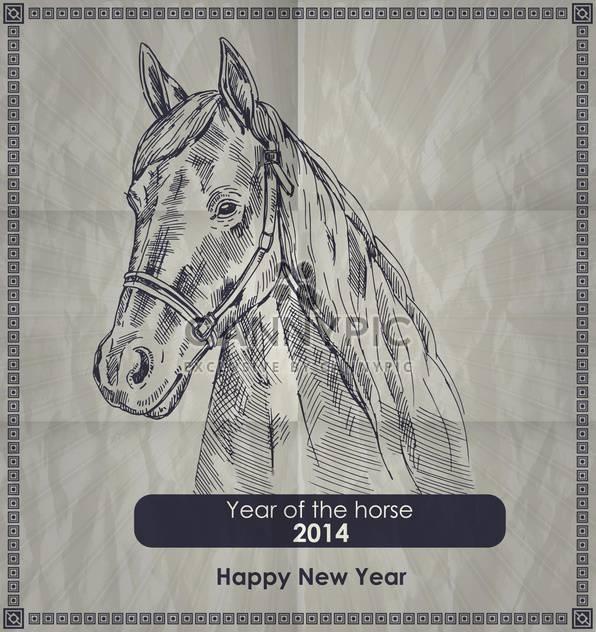 Jahr des Pferdes-Vintage-Stil-poster - Kostenloses vector #135302