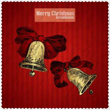 Yellow christmas bells on red background - vector gratuit(e) #135312