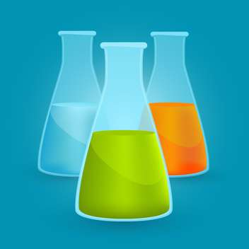 Vector illustration of three flasks with different chemical solutions on blue background - vector gratuit #125742