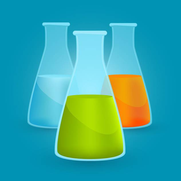 Vector illustration of three flasks with different chemical solutions on blue background - vector #125742 gratis