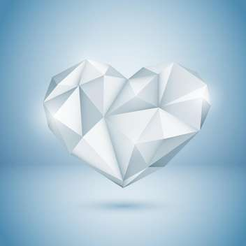 Vector illustration of shine diamond heart on blue background - бесплатный vector #125752
