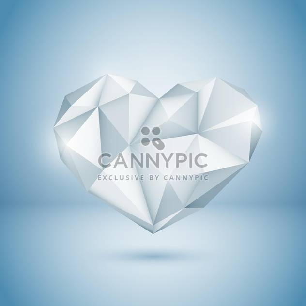 Vector illustration of shine diamond heart on blue background - Free vector #125752