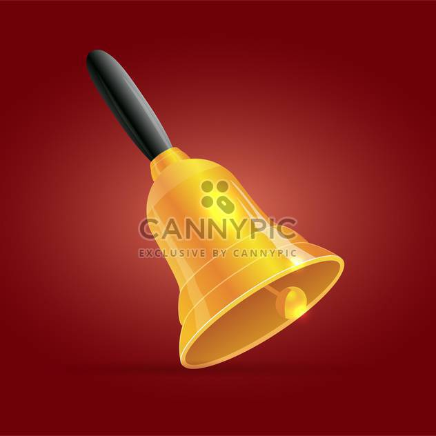 Vector illustration of golden bell with black handle on red background - Free vector #125762