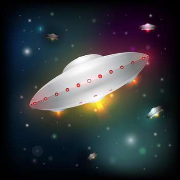 Vector illustration of unidentified flying objects on dark night sky - Free vector #125792