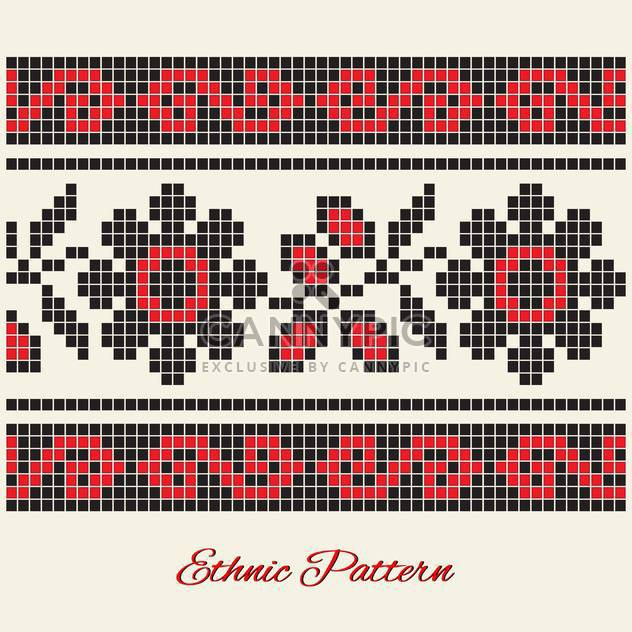 Vector illustration of black and red flower ethnic pattern on white background - Kostenloses vector #125832