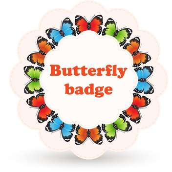 Colorful vector badge with beautiful butterflies on white background - бесплатный vector #125862