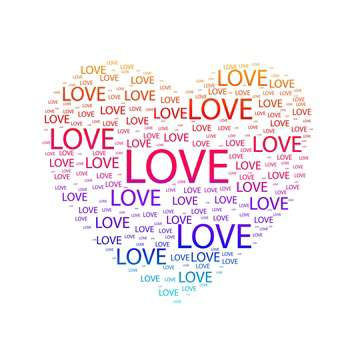 Vector illustration of heart made of colorful words love on white background - Free vector #125882