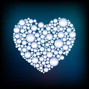 Vector heart made of white bubbles on blue background - бесплатный vector #125942