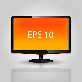Vector illustration of lcd tv monitor with orange screen - vector gratuit #125952
